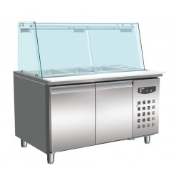 BAKKERSKOELWERKBANK GLAS RECHT 2 DEUREN 4x 1/1 GN PAN