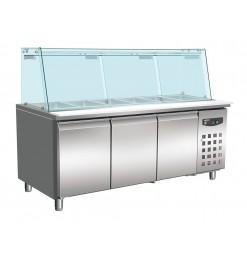 KOELWERKBANK GLAS RECHT 3 DEUREN 5X 1/1 GN PAN