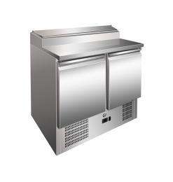 Gastro-Inox RVS saladette met 2 deuren & 5x GN1/6 prepareer unit, geforceerd gekoeld