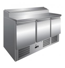Gastro-Inox RVS saladette met 3 deuren & 8x GN1/6 prepareer unit, geforceerd gekoeld