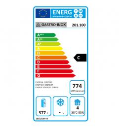 Gastro-Inox wit stalen koeling 600 liter, statisch gekoeld met ventilator