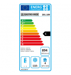 Gastro-Inox wit stalen vriezer 200 liter, statisch gekoeld met ventilator