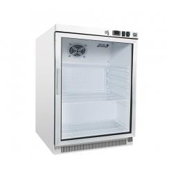 Gastro-Inox wit stalen koeling 200 liter met glasdeur, statisch gekoeld met ventilator