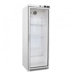 Gastro-Inox wit stalen koeling 400 liter met glasdeur, statisch gekoeld met ventilator