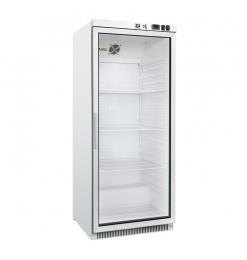 Gastro-Inox wit stalen koeling 600 liter met glasdeur, statisch gekoeld met ventilator
