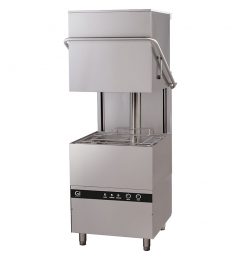 Gastro-Inox elektronische doorschuifvaatwasser met zeepdispenser, 50x50cm, 400V