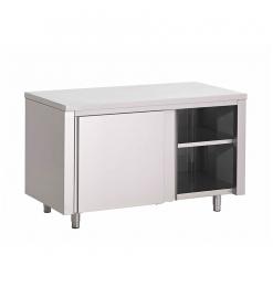 Gastro-Inox RVS werkbank 1300(l)x600(d)x850(h)mm met schuifdeuren
