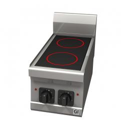 Gastro-Inox 600 Trendline elektrisch keramisch kooktoestel, 2 zones, 400V