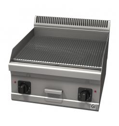 Gastro-Inox 600 Trendline elektrische bakplaat met geribbelde plaat. 400V