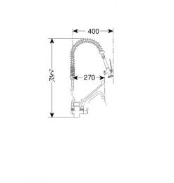 Gastro-Inox monobloc voorspoeldouche met handsfreehendel & zwenkkraan van 250mm, 700mm