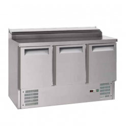Gastro-Inox 3-deurs RVS saladette, met 8x GN1/6 prepareer unit