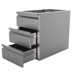 Gastro-Inox RVS ladeblok met 3 laden voor onderbouw 680mm diep