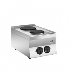 Gastro-Inox 650 HP elektrisch kooktoestel met 2 kookplaten, 40cm