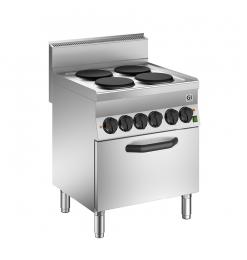 Gastro-Inox 650 HP elektrisch kooktoestel met 4 kookplaten en elektrische oven, 70cm