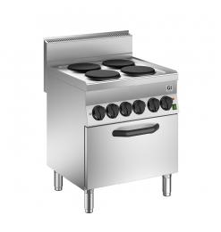 Gastro-Inox 650 HP elektrisch kooktoestel met 4 kookplaten en heteluchtoven, 70cm
