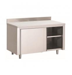 Gastro-Inox RVS werkbank 1200(l)x600(d)x850(h)mm met schuifdeuren en achteropstand