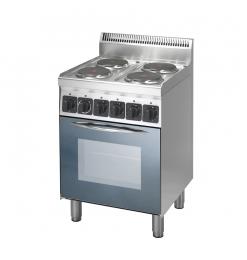 Gastro-Inox 600 Trendline elektrisch fornuis met 4 kookplaten en heteluchtoven