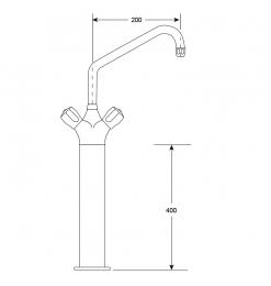 Gastro-Inox HP monobloc Ø25mm mengkraan, lengte 200mm op 400mm kolom