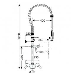 Gastro-Inox monobloc voorspoeldouche met draaihendels & zwenkkraan, 1200mm