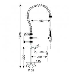 Gastro-Inox monobloc voorspoeldouche met draaiknoppen & zwenkkraan, 1200mm