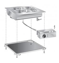 Gastro-Inox drop-in bainmarie 60 cm met aansluitblok